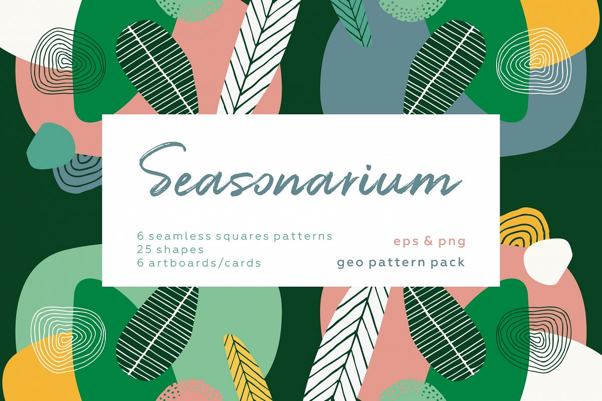 Seasonarium. Abstract botanical pattern and graphic set. example image 1