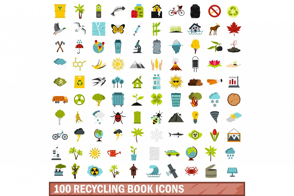 100 recycling book icons set, flat style example image 1