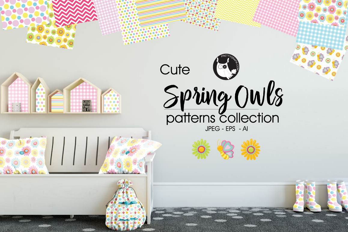 spring-owls, digital papers example image 1