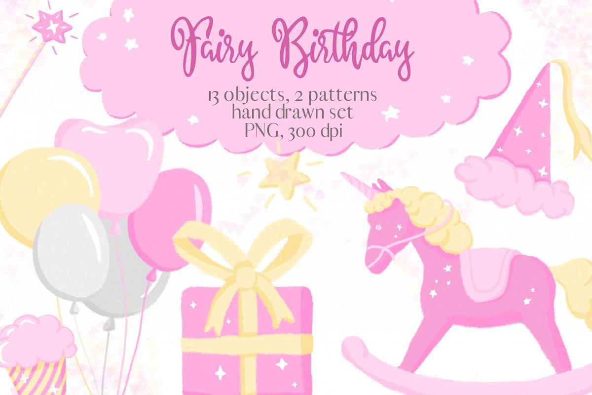Fairy birthday. Pink girl clipart set