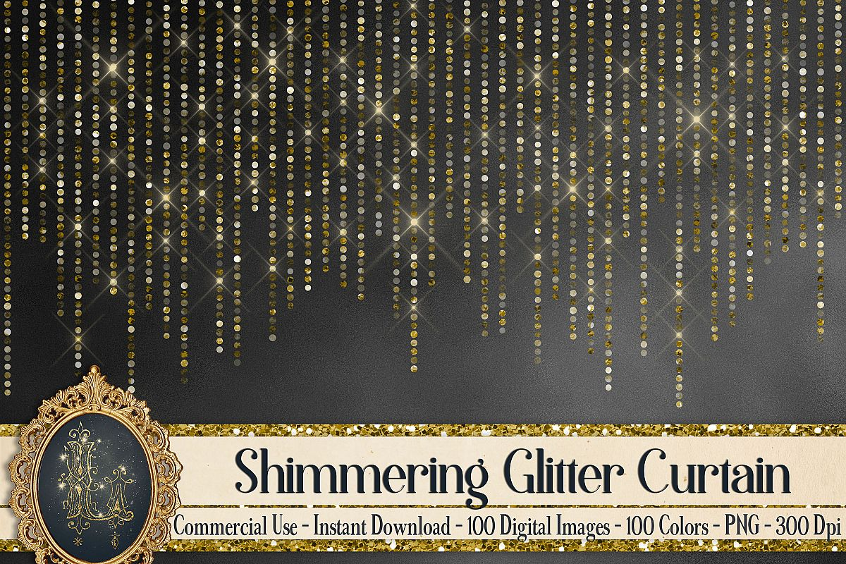 100 Shimmering Glitter Curtain Border Overlay Digital Images example image 1