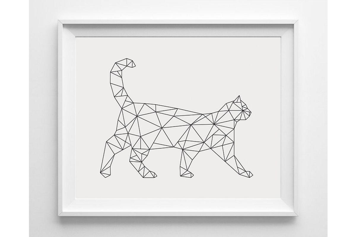 Geometric Cat Print, Minimalist Wall Art Download example image 1