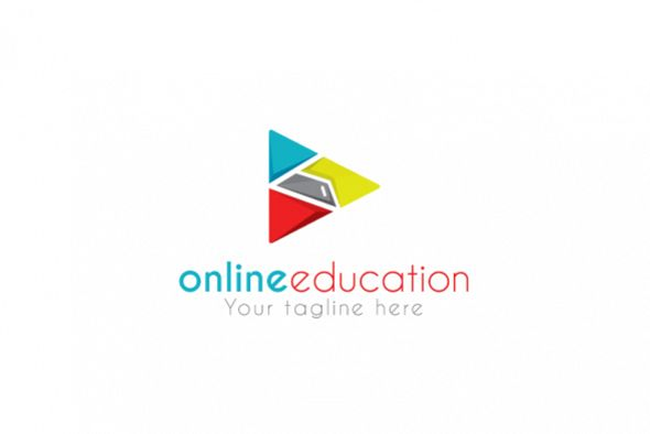 Online Education - Play Symbol Stock Logo Design Template example image 1