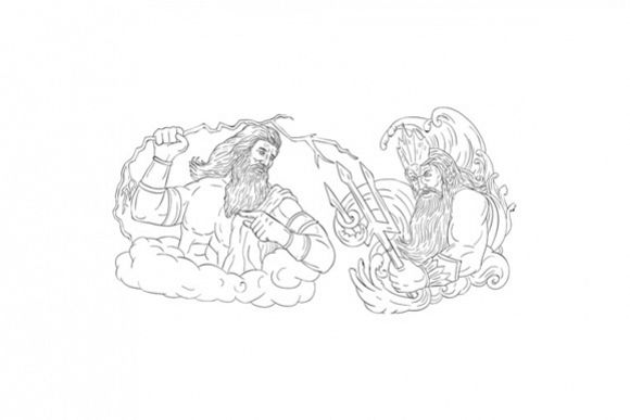 Zeus Vs Poseidon Black and White Drawing example image 1