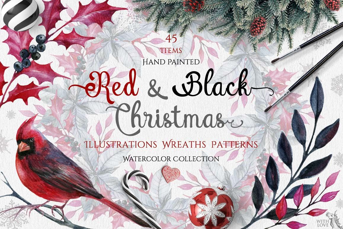 Watercolor Red & Black Christmas Set example image 1
