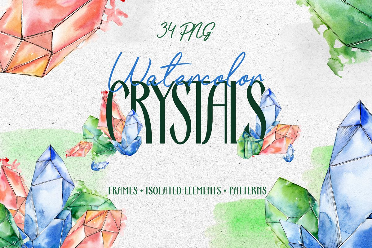 Crystals Corundum red, blue and green Watercolor png example image 1