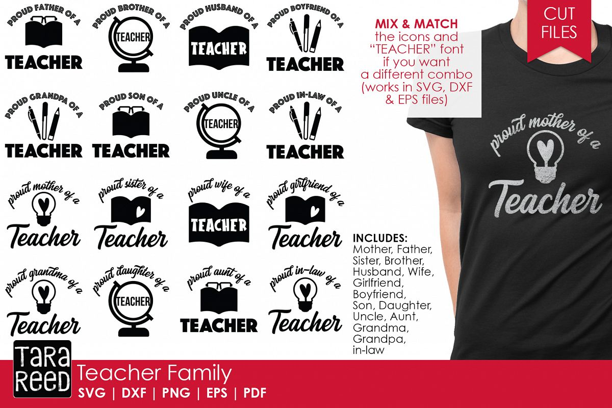 Teacher Family - School SVG and Cut Files for Crafters example image 1