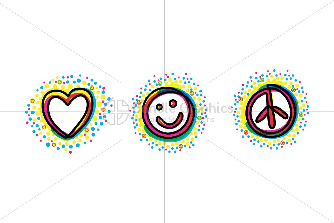Love Smile Peace - Bold Linear Simple Illustration Iconic Graphics example image 1