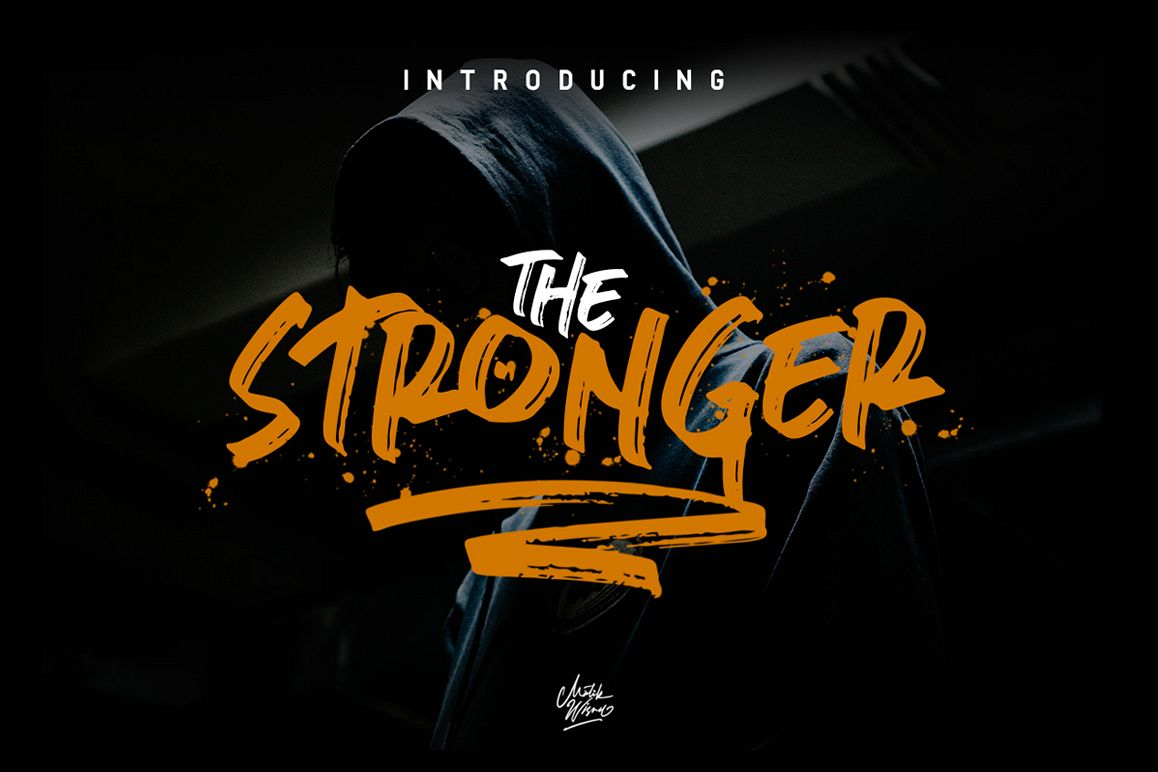 Stronger- urban brush font example image 1