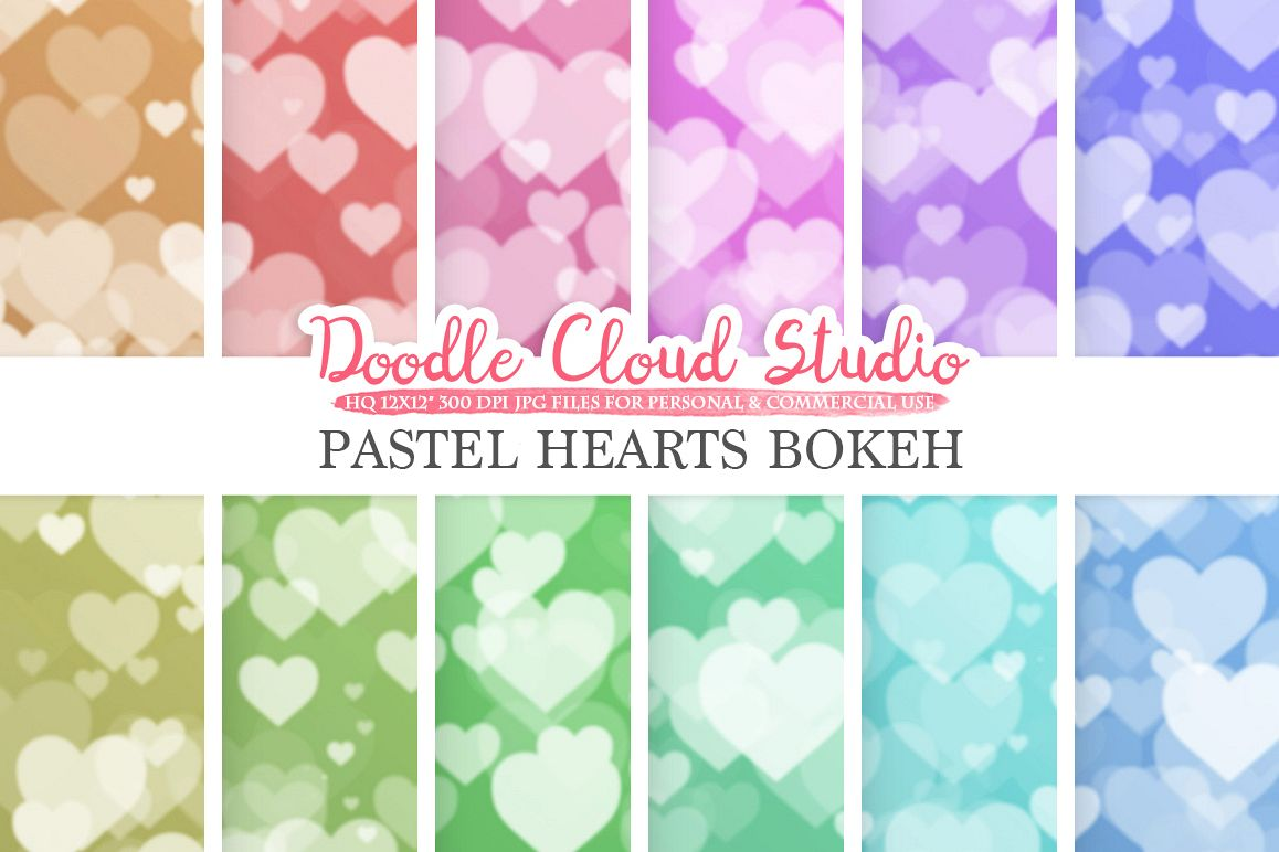 Pastel Hearts Bokeh digital paper, Pastel colors Bokeh Overlay, Heart Bokeh backgrounds, Instant Download, for Personal & Commercial Use example image 1