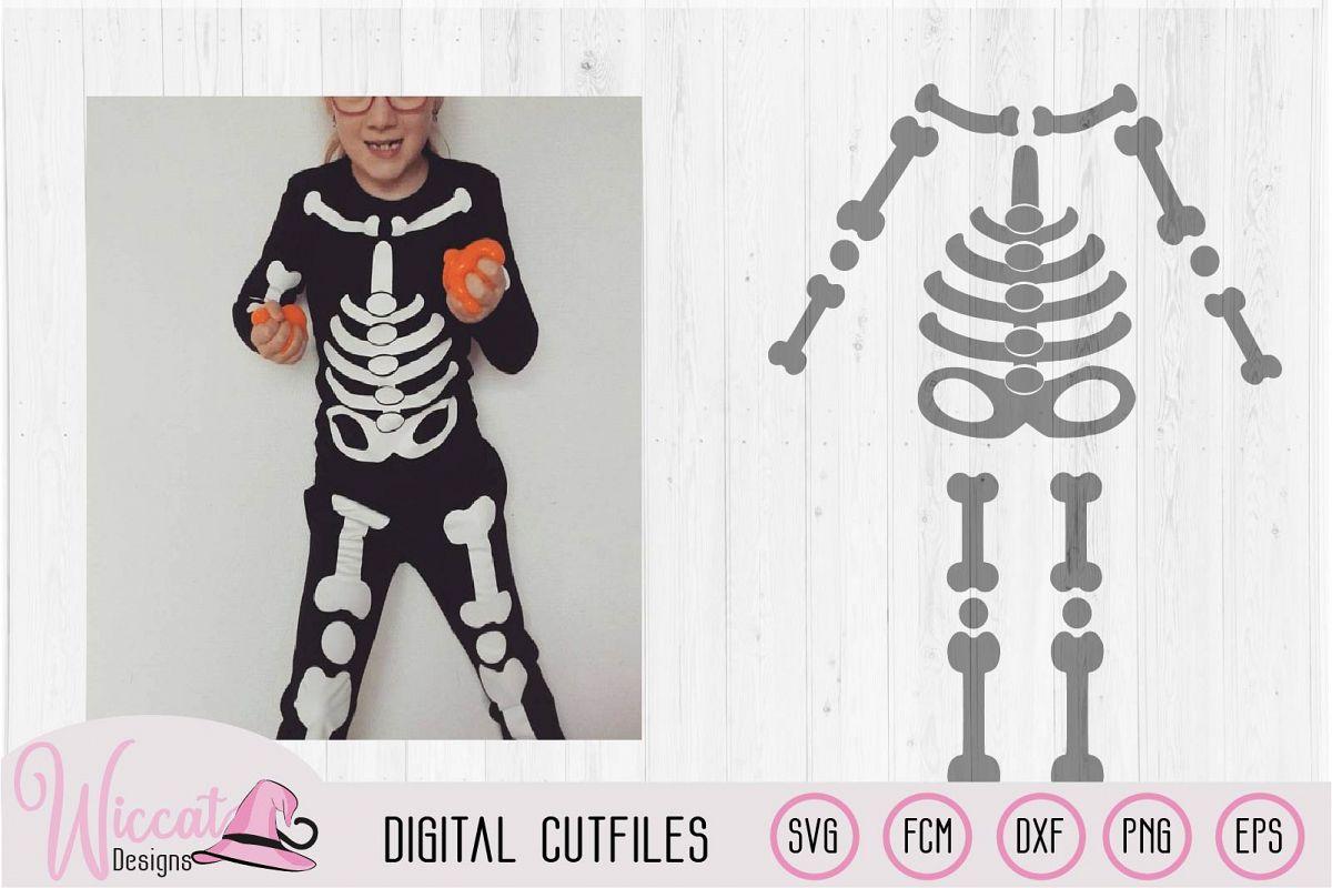 Halloween Kids skeleton costume cut file example image 1