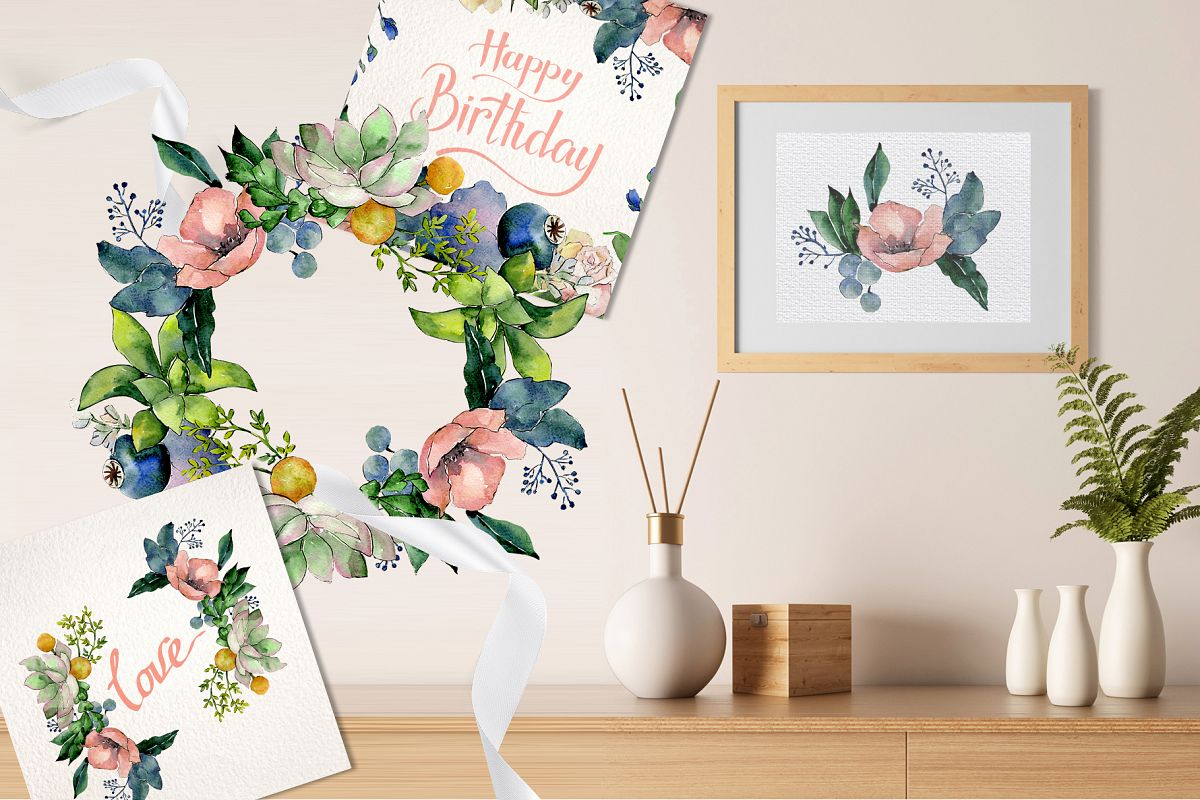Bouquets with succulents Watercolor png example image 1