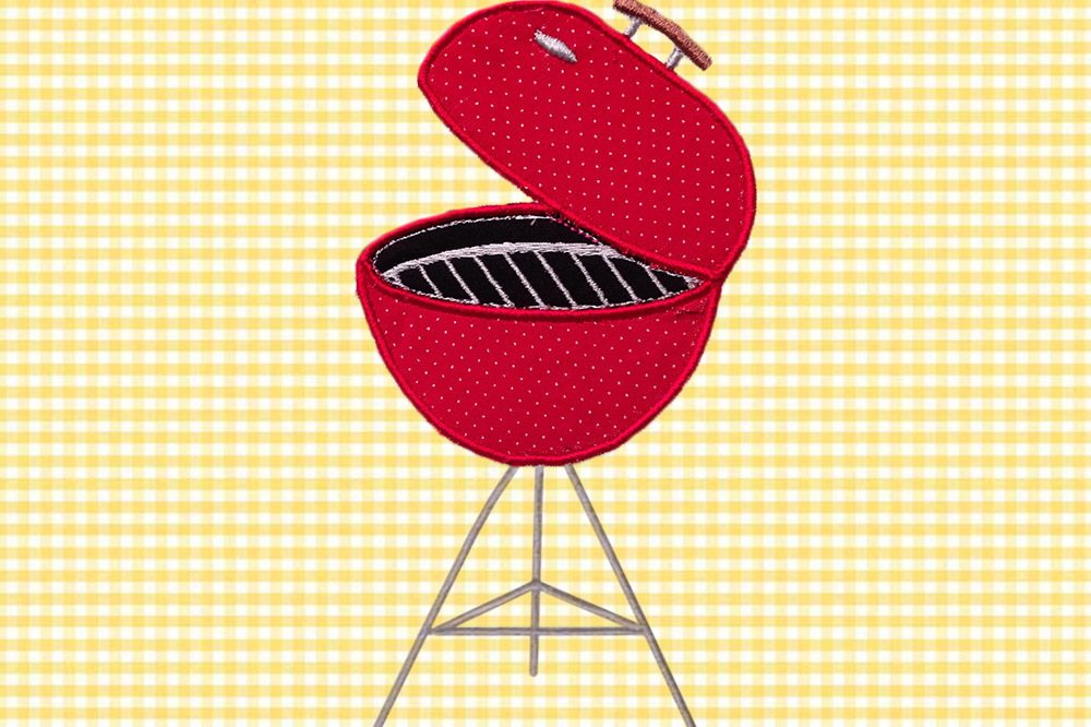 Charcoal Bbq Grill Applique Embroidery