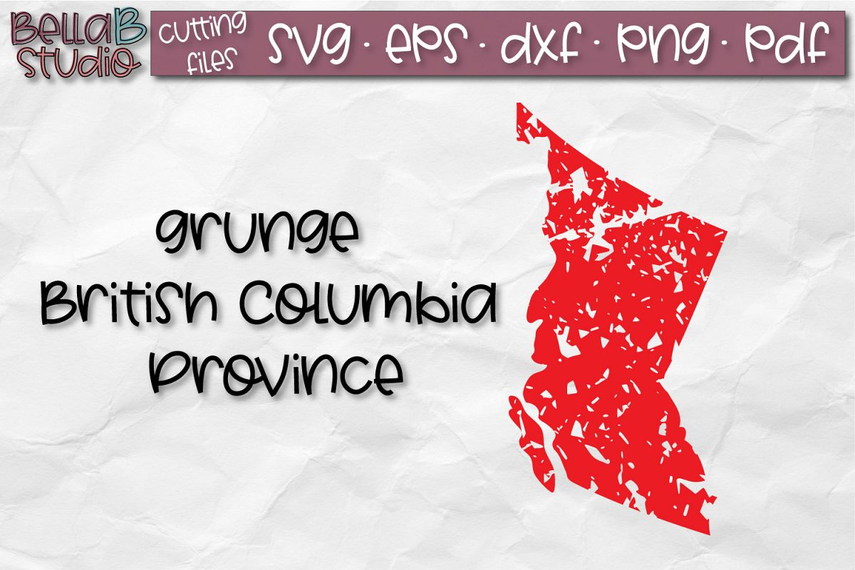 British Columbia SVG, Canada SVG, Canadian SVG, Distressed example image 1