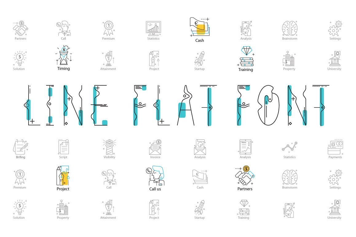 Line Flat font + line flat icon example image 1