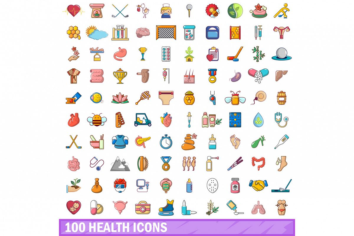 100 health icons set, cartoon style example image 1