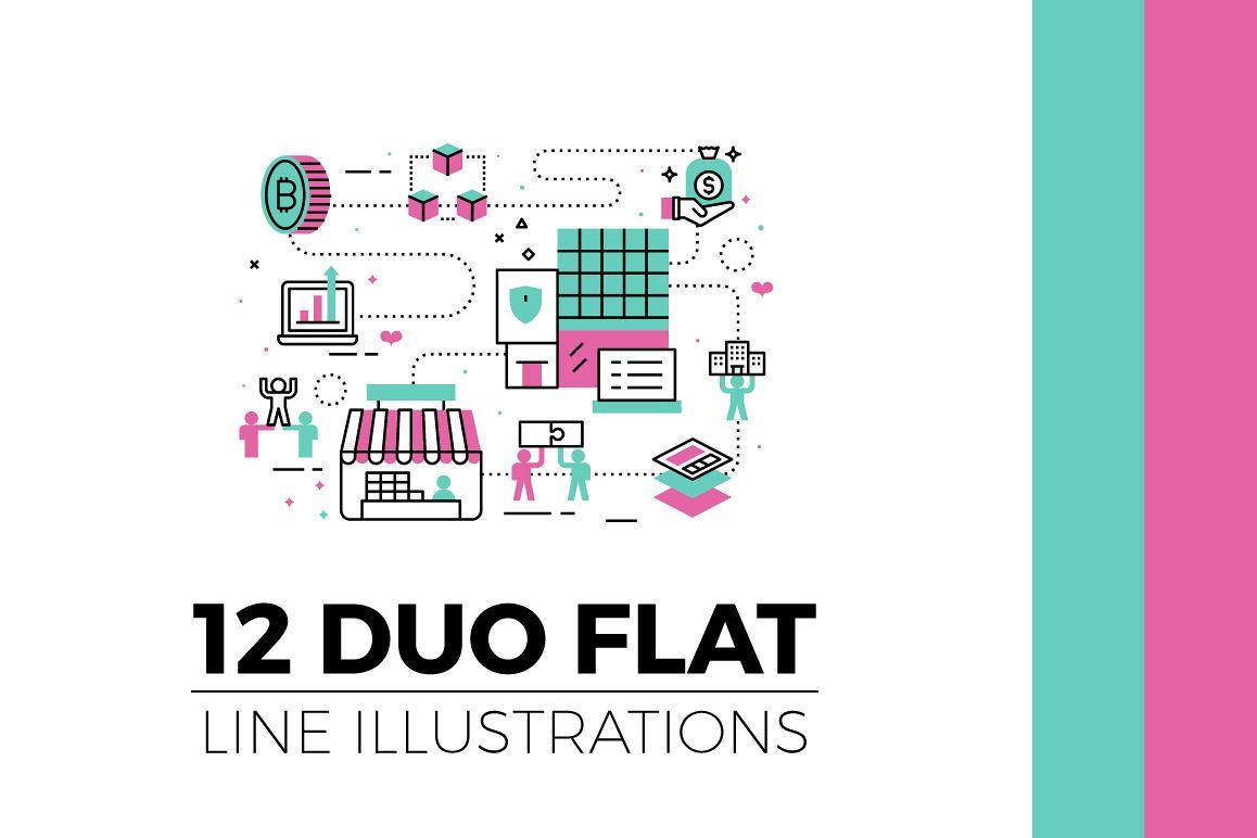 Flat Line Web Banner Illustration V3 example image 1