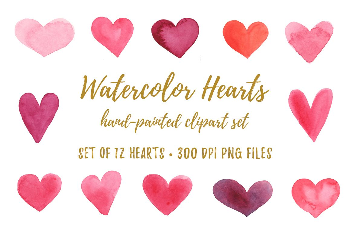 Watercolor heart. Hearts clipart png jpg