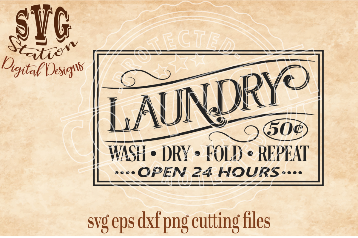 Vintage Laundry Cut File example image 1