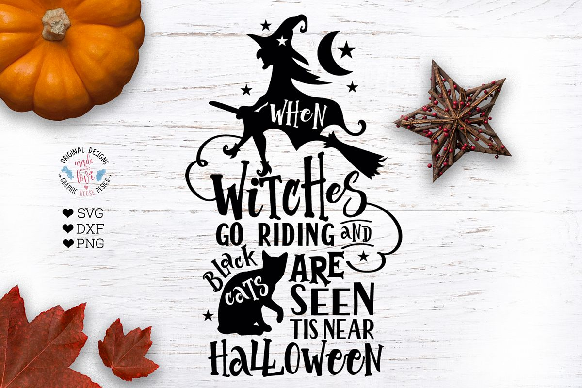 When Witches Go Riding - Halloween Cut File example image 1