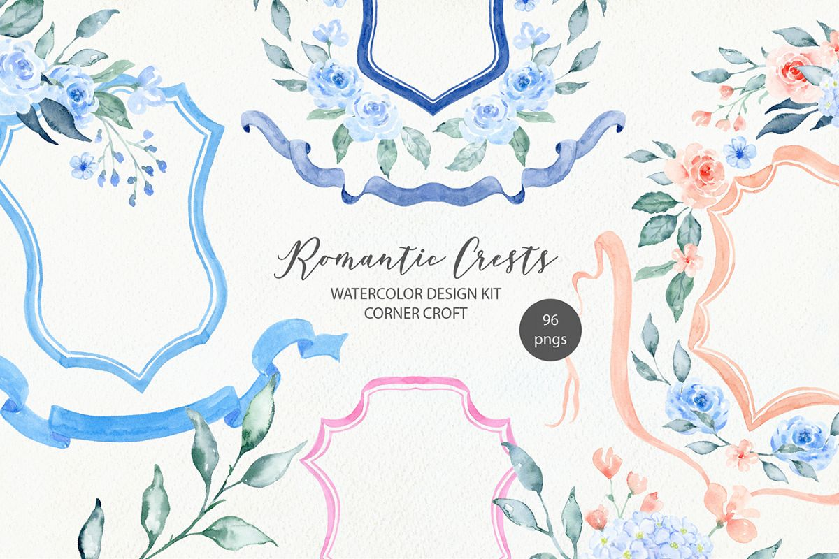 Watercolor Romantic Crest Design Kit example image 1