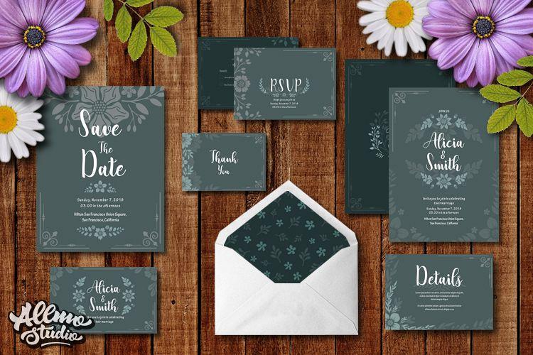 Floral Wedding Invitation example image 1