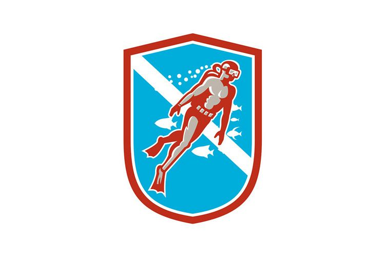 Scuba Diver Diving Going Up Shield Retro example image 1