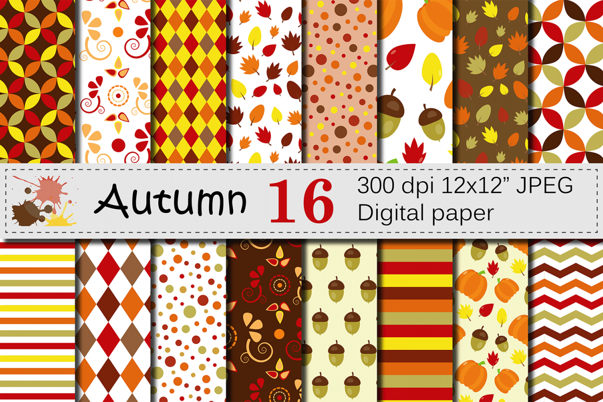Autumn Digital Paper - Fall Patterns with Pumpkin, Acorn and Leaves example image 1