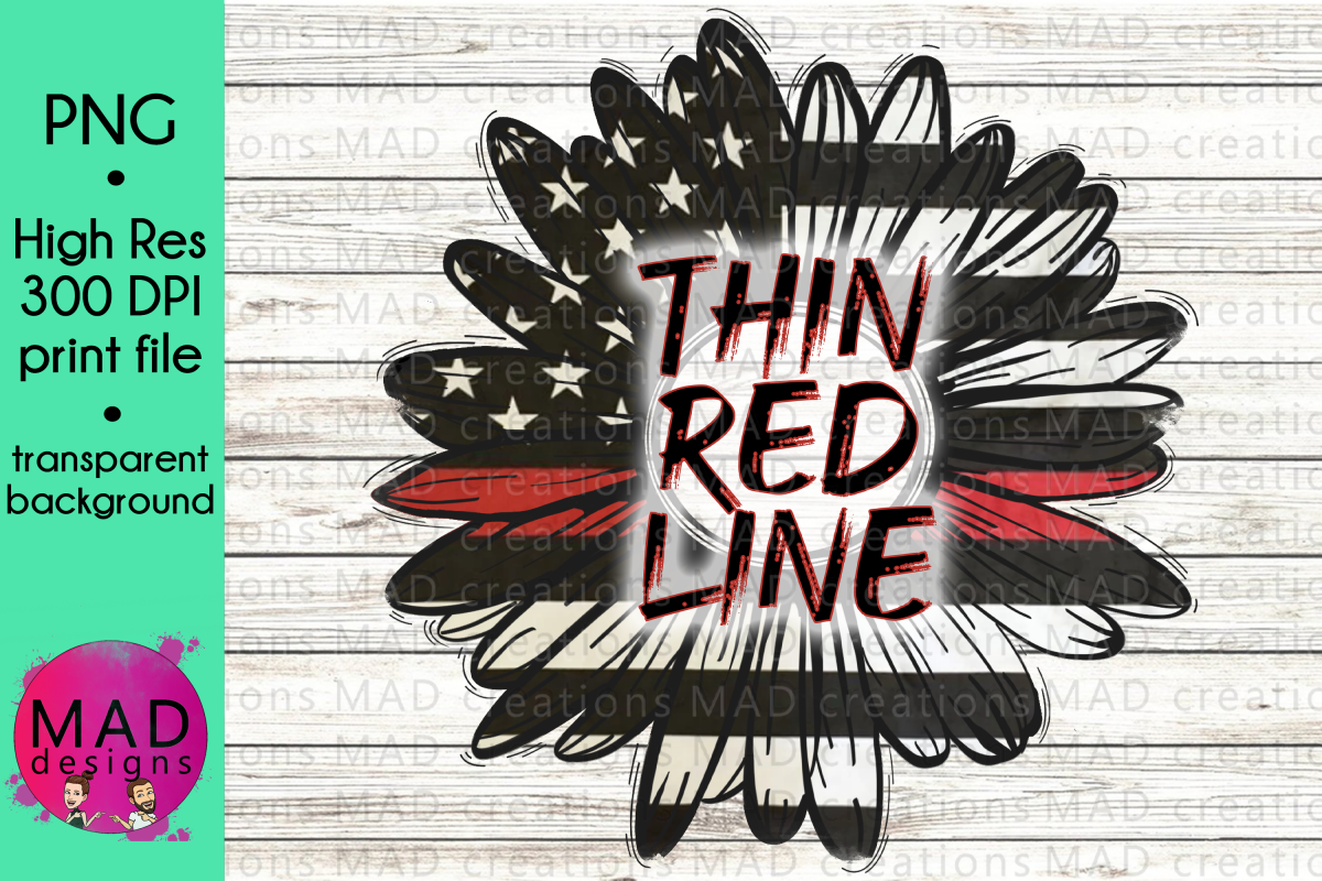 Thin Red Line - Rustic Sunflower -Firefighter example image 1