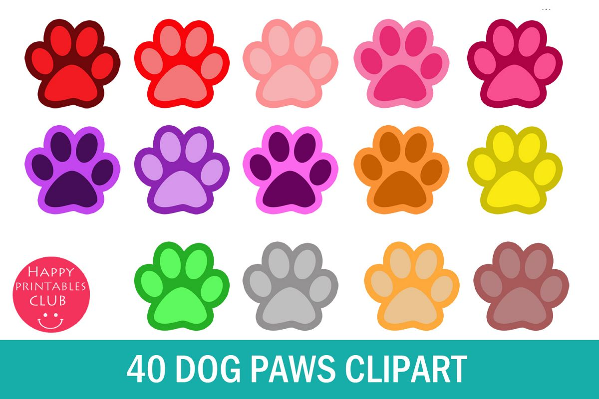 photograph about Printable Paw Print called 40 Pet dog Paws Clipart- Canine Foot Clipart-Doggy Paw Print Shots