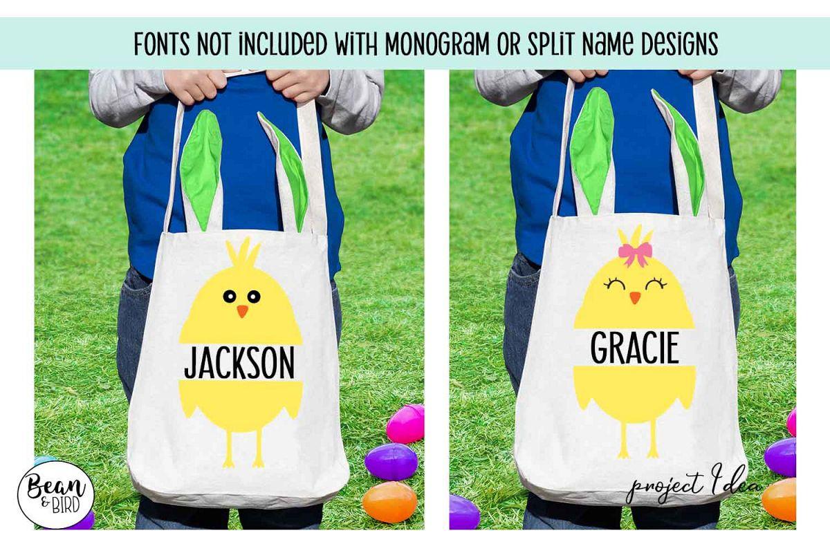 Easter Chicks Monograms Split Name SVG example image 1