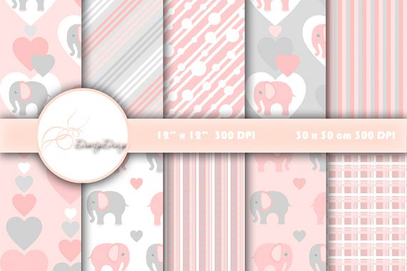 Digital paper pack Elephant Pink example image 1