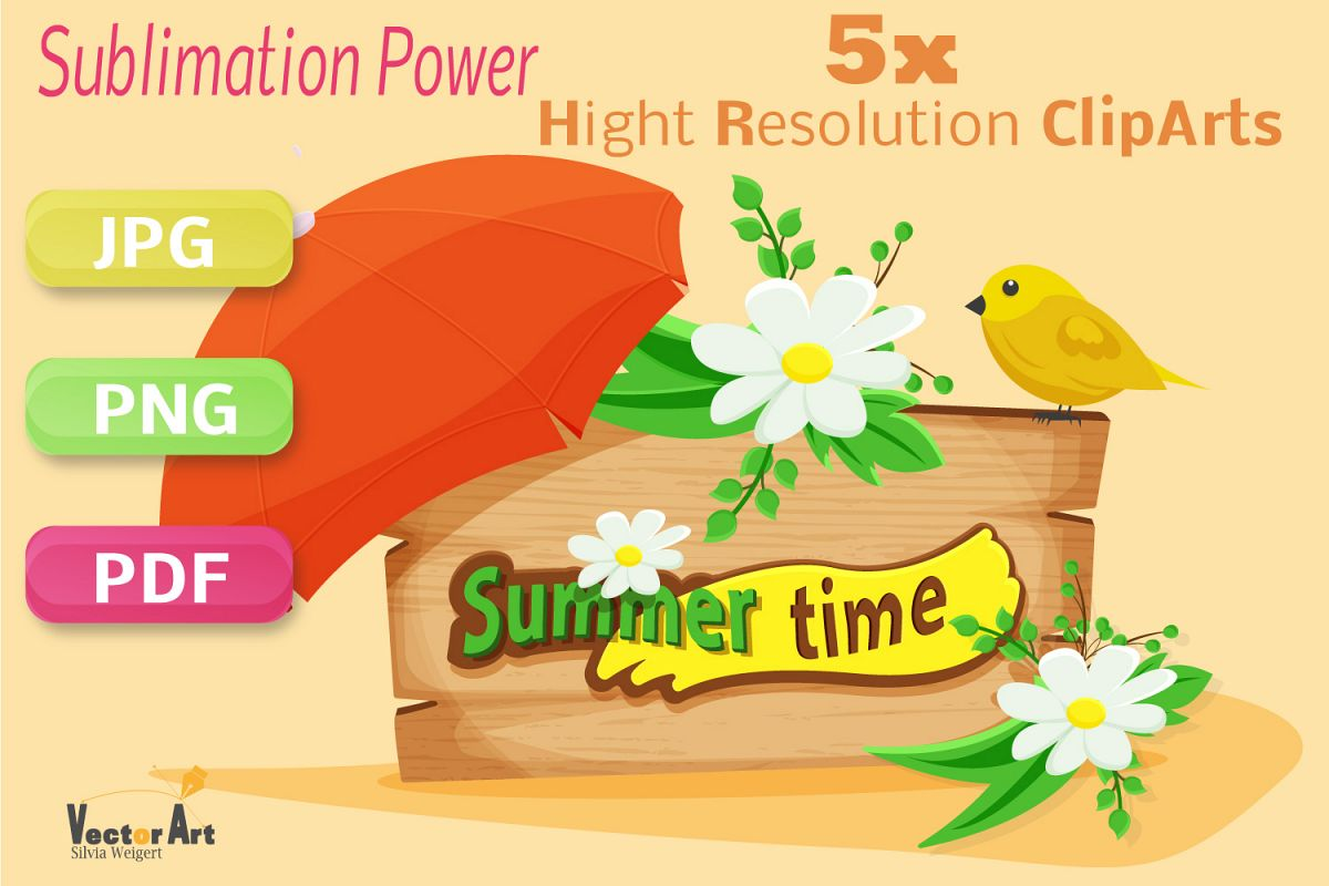 Summer Time - Craft Bundle for Sublimation and Scrapbooking example image 1