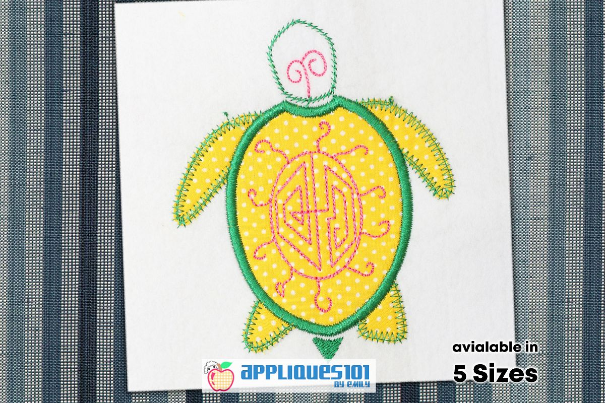 Cartoon Turtle Embroidery Applique Design - Turtles example image 1
