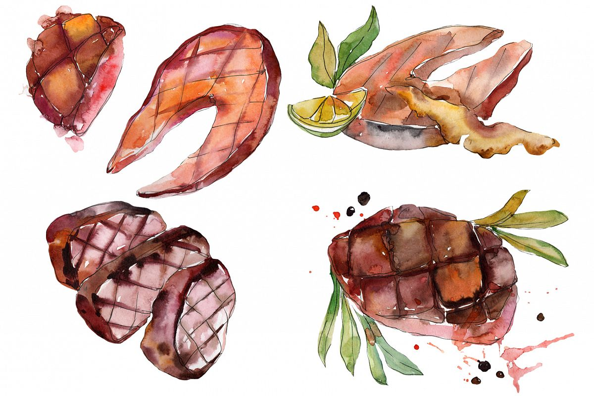 Salmon fish steaks PNG watercolor set example image 1