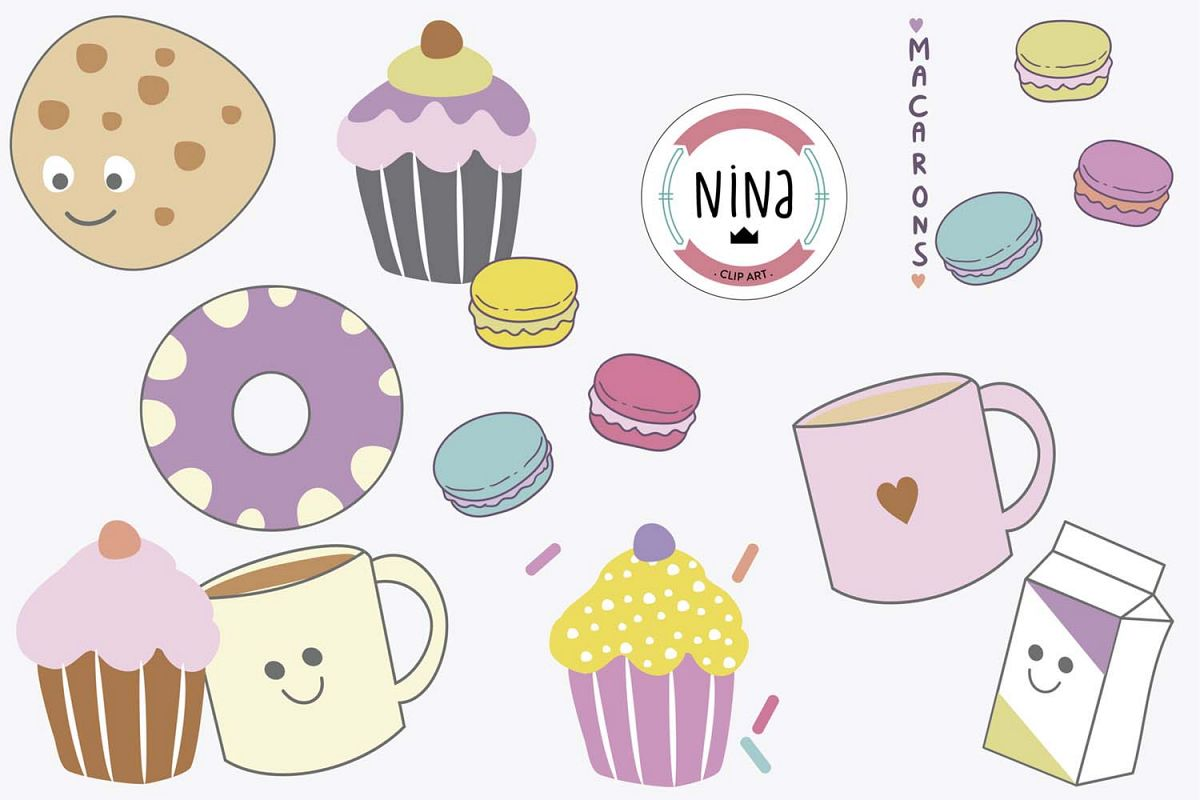 Sweet Bakery Clip Art, 10 PNG files, Cupcakes and macarons example image 1