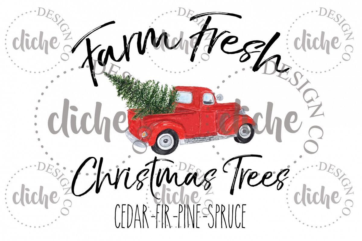 Christmas Tree Truck Sublimation Design example image 1
