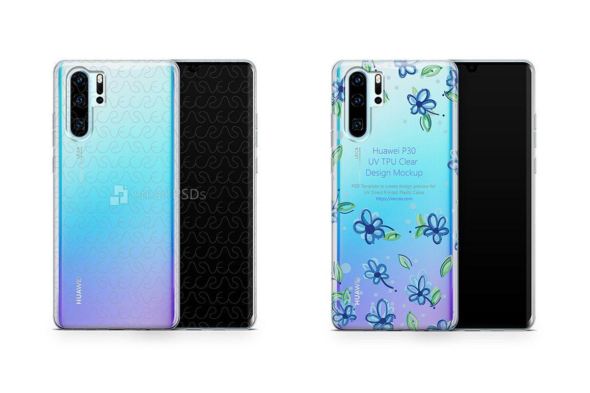 Huawei P30 Pro UV TPU Clear Case Mockup 2019 Flat example image 1
