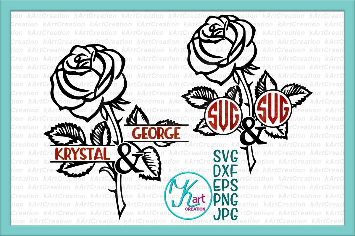 Valentines day Rose couple monogram frame for name svg dxf example image 1