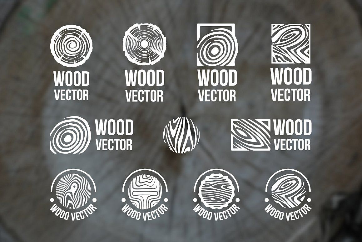 Set of wood rings texture logo example image 1