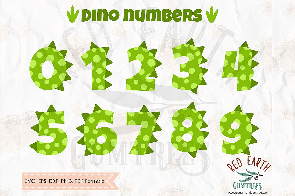 Dinosaur numbers spots and spikes, Trex SVG,DXF,PNG,EPS,PDF example image 1