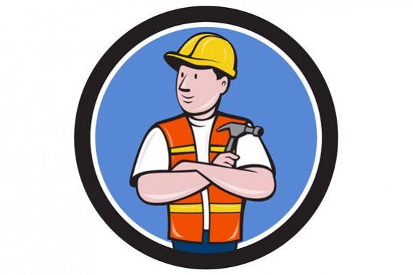 Builder Carpenter Folded Arms Hammer Circle Cartoon example image 1