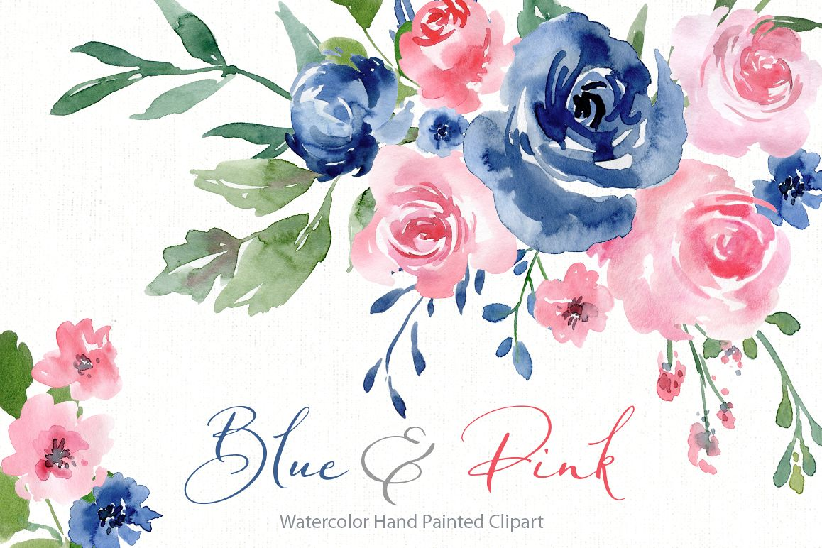 Watercolor Blue and Pink Roses Flowers PNG example image 1