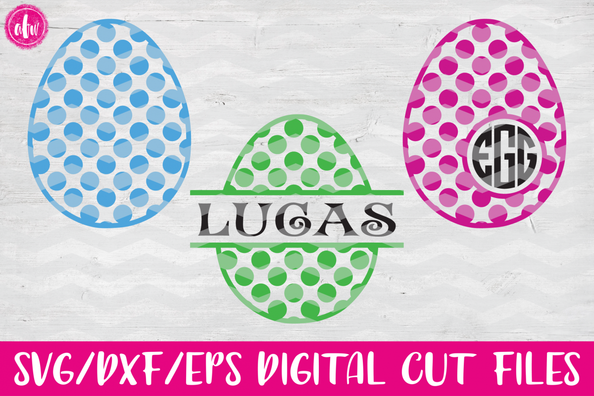 Polka Dot Pattern Easter Eggs Set - SVG, DXF, EPS Cut Files example image 1