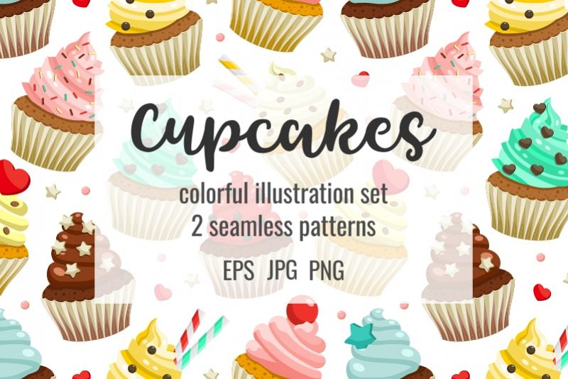 Cupcakes set & patterns example image 1