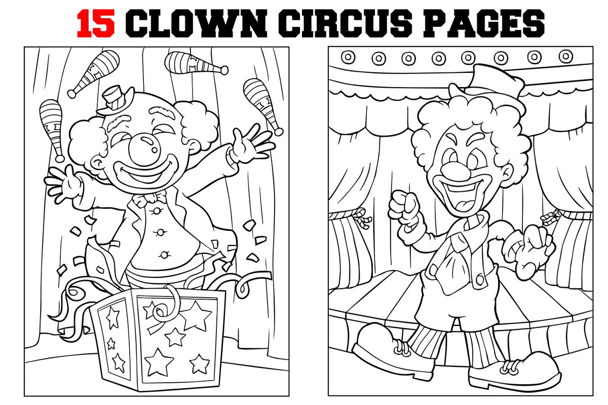 Coloring Pages For Kids - 15 Clown and Circus Coloring Pages example image 1