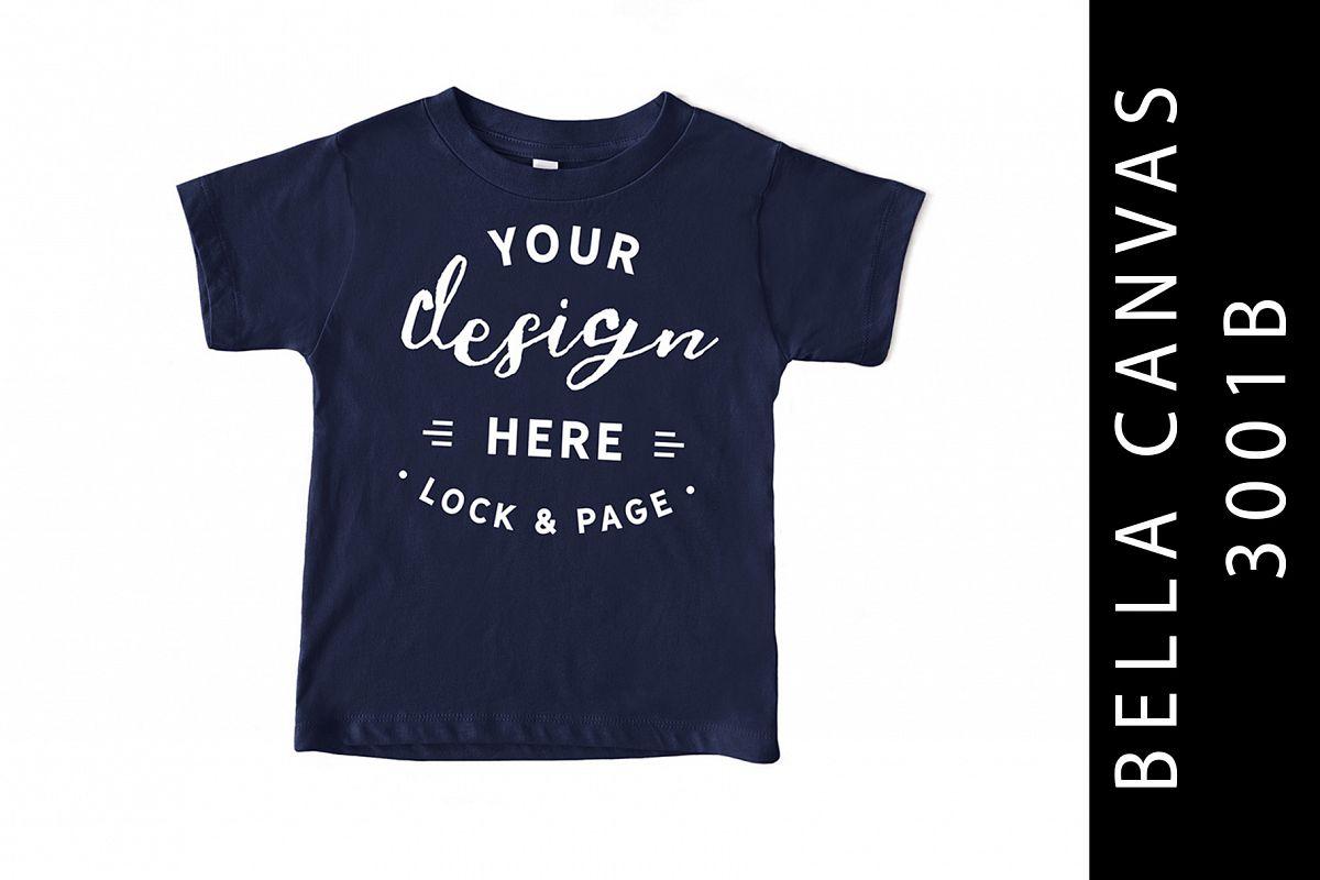Navy Kids Bella Canvas 3001B T-Shirt Mockup Toddler example image 1