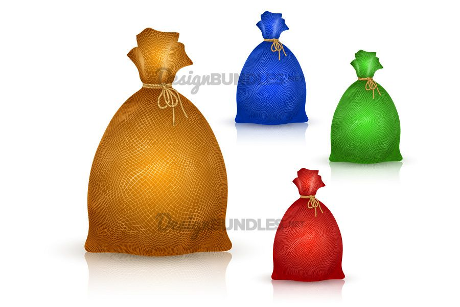 Vector Sack Bag Burlap Rope Realistic Filled Icon Set example image 1