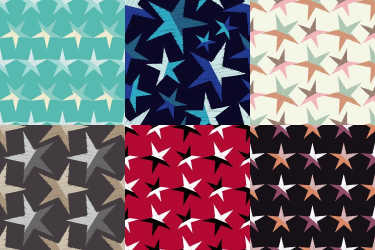 6 Seamless vector backgrounds with decorative stars. Scratches, grunge texture.  example image 1