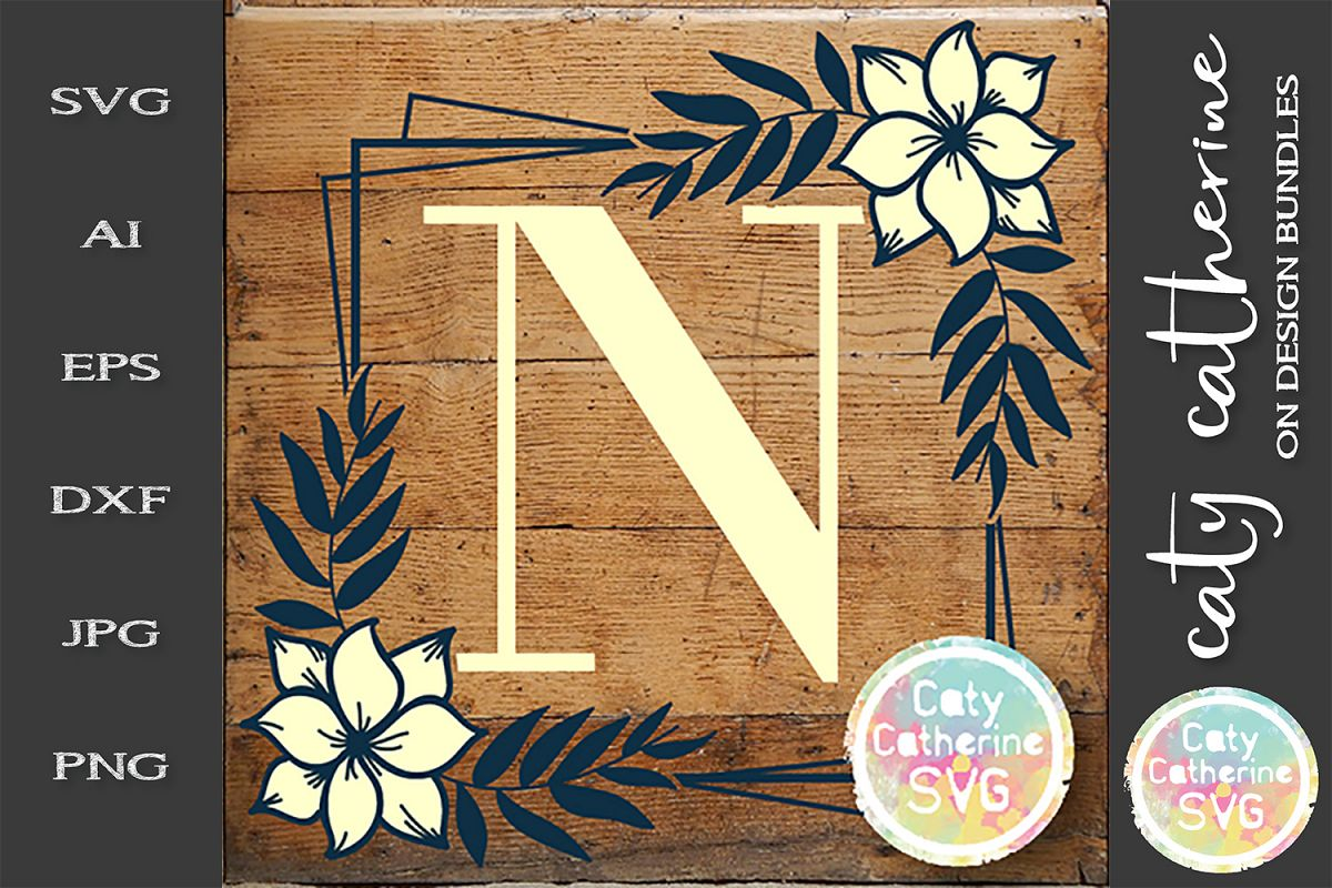 Letter N Floral Monogram Frame SVG Cut File example image 1